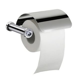 Wall Mounted Toilet Roll Holder With Cover and White Crystal Windisch 85511CRB