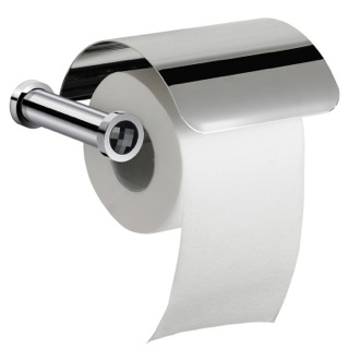 Chrome Toilet Roll Holder With Cover and Black Crystal Windisch 85511CRN