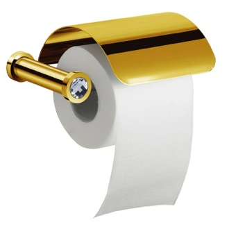 Gold Finish Toilet Roll Holder With Cover and White Crystal Windisch 85511OB