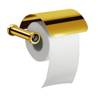 Brass Toilet Roll Holder With Cover and Black Crystal in Gold Finish Windisch 85511ON