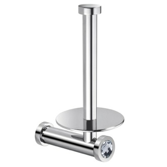 Toilet Paper Holder Vertical Wall Toilet Roll Holder In Chrome Finish With White Crystal Windisch 85512CRB