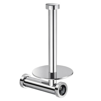 Toilet Paper Holder Chrome Brass Vertical Toilet Roll Holder With Black Crystal Windisch 85512CRN
