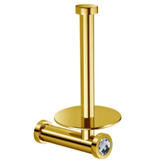 Toilet Paper Holder Gold Brass Vertical Toilet Roll Holder With White Crystal Windisch 85512OB