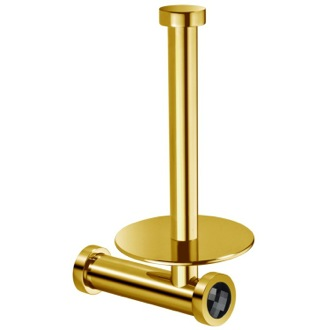 Toilet Paper Holder Gold Upright Toilet Roll Holder With Black Crystal Windisch 85512ON