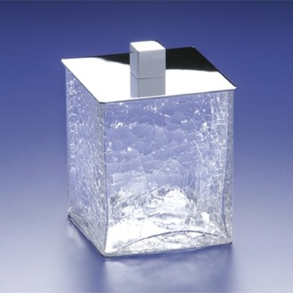 Square Crackled Crystal Glass Cotton Ball Jar Windisch 88129