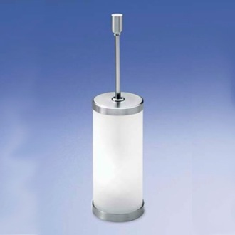 Toilet Brush Frosted Crystal Glass Toilet Brush Holder with Brass Handle 89118M Windisch 89118M