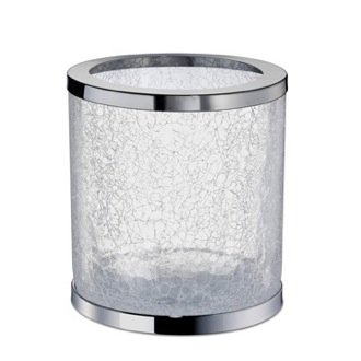 Waste Basket Round Crackled Glass Bathroom Waste Bin Windisch 89164