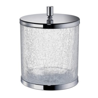 Round Crackled Glass Bathroom Waste Bin with Cover Windisch 89165-CR