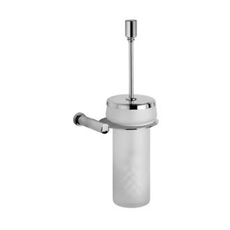 Toilet Brush Wall Mounted Frosted Crystal Glass Toilet Brush Holder with Chrome Mounting Windisch 89430