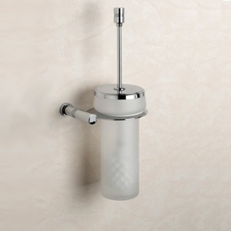 Toilet Brush Wall Mounted Frosted Crystal Glass Toilet Brush Holder with Chrome Mounting 89430 Windisch 89430