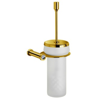 Toilet Brush Brass Toilet Brush Holder in Gold Finish With White Crystal Windisch 89513MOB