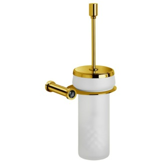 Toilet Brush Holder In Gold Finish With With Black Crystal Windisch 89513MON