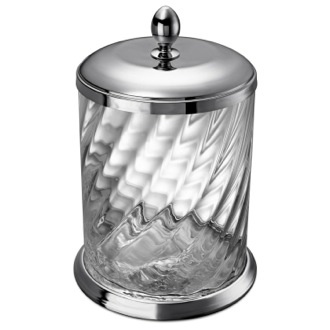 Twisted Glass Waste Bin In Chrome Finish Windisch 89802CR