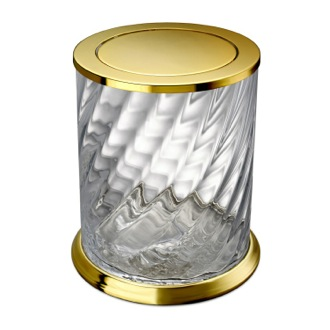 Waste Basket Gold Swivel Lid Waste Basket Made From Twisted Glass 89805O Windisch 89805O