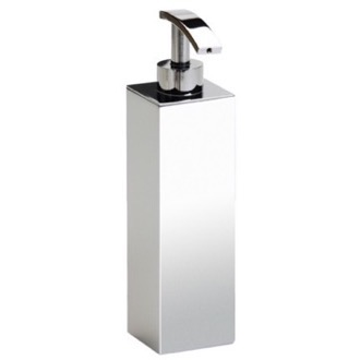 Tall Squared Chrome, Gold or Satin Nickel Bathroom Soap Dispenser Windisch 90102