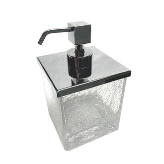 Soap Dispenser Squared Crackled Crystal Glass Soap Dispenser Windisch 90412
