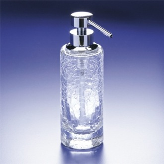 Soap Dispenser Rounded Tall Crackled Crystal Glass Soap Dispenser Windisch 90414