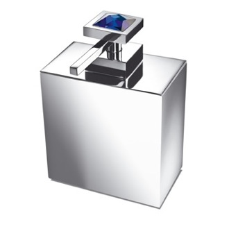 Square Brass Soap Dispenser with Blue Strass Swarovski Crystal on Top Windisch 90501A