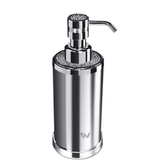 Soap Dispenser Round Chrome or Gold Soap Dispenser with Swarovski Crystals on Top Windisch 90505