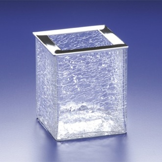 Square Crackled Crystal Glass Toothbrush Holder Windisch 91129