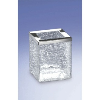 Free Standing Crackled Glass Square Toothbrush Holder Windisch 91149