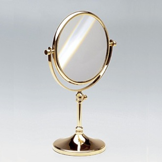 Makeup Mirror Double Face Pedestal 3x, 5x, 5xop, or 7xop Brass Magnifying Mirror Windisch 99132