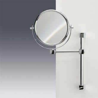 Makeup Mirror Wall Mounted Double Face 3x, 5x, or 7x Brass Magnifying Mirror Windisch 991402
