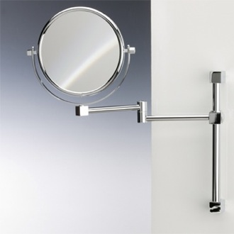 Makeup Mirror Brass Wall Mounted Double Face 3x, 5x, 5xop, or 7x Magnifying Mirror Windisch 991403