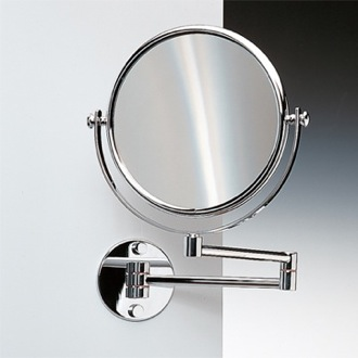 Wall Mounted Double Face Brass 3x, 5x, 5xop, or 7xop Magnifying Mirror Windisch 99141