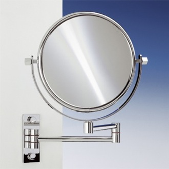 Makeup Mirror Brass Wall Mounted Extendable Double Face 3x, 5x, 5op, or 7xop Magnifying Mirror 99145 Windisch 99145
