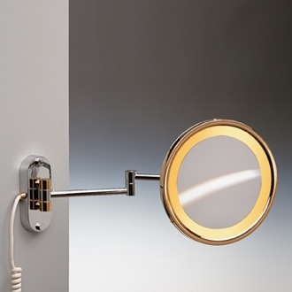 Makeup Mirror Wall Mounted Lighted Brass 3x or 5x Magnifying Mirror Windisch 99150