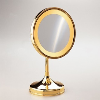 Makeup Mirror Pedestal Round 3x or 5x Brass Magnifying Mirror 99151D Windisch 99151D