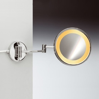Wall Mount One Face Hardwired Lighted 3x or 5x Brass Magnifying Mirror Windisch 99153/2/D