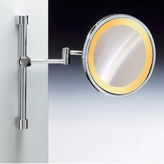 Wall Mounted Chrome or Gold Round Lighted 3x or 5x Magnifying Mirror Windisch 99159