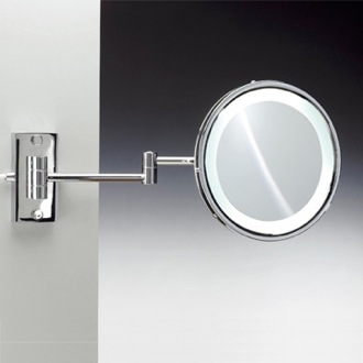 Makeup Mirror Wall Mounted Brass Round Lighted 3x or 5x Magnifying Mirror Windisch 99187