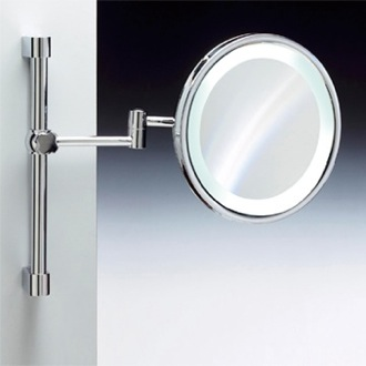 Wall Mounted Round Lighted 3x or 5x Chrome or Gold Magnifying Mirror Windisch 99189