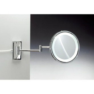 Wall Mounted Brass LED Mirror With 3x, 5x Magnification Windisch 99287