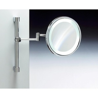 Wall Mounted Brass LED Mirror With 3x, 5x Magnification Windisch 99289