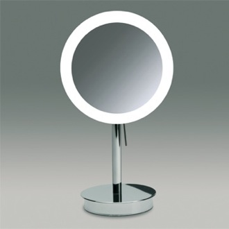 Round Pedestal Lighted 3x or 5x Chrome or Gold Magnifying Mirror Windisch 99651