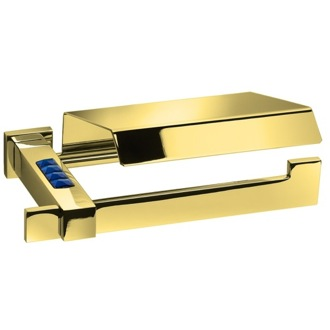 Toilet Paper Holder Blue Crystal Gold Toilet Roll Holder With Cover 85581OA Windisch 85581OA