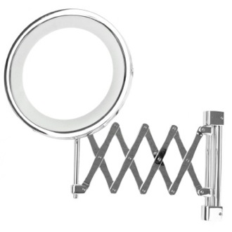 Wall Mounted Extendable Lighted 3x or 5x Brass Magnifying Mirror Windisch 99158
