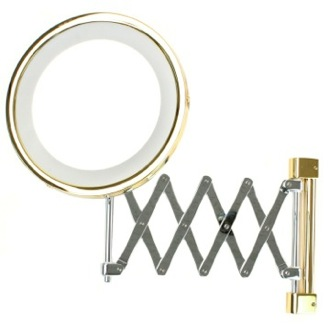 Makeup Mirror Wall Mounted Extendable Lighted 3x or 5x Brass Magnifying Mirror Windisch 99158