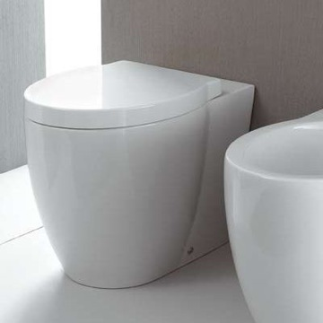Round White Ceramic Floor Toilet with Seat and Cover 661011