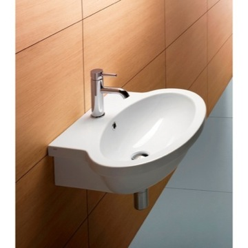 Oval-Shaped White Ceramic Wall Mounted Bathroom Sink