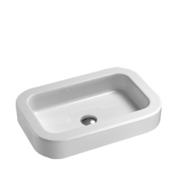Curved Rectangular White Ceramic Vessel or Drop In Bathroom Sink