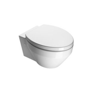 Round White Ceramic Wall Hung Toilet with Seat and Cover