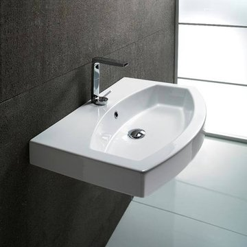 Curved White Ceramic Wall Mounted or Self Rimming Bathroom Sink