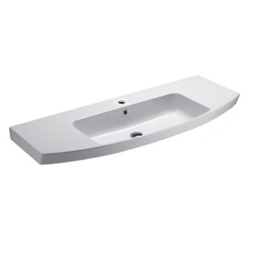 Curved White Ceramic Wall Mounted Bathroom Sink
