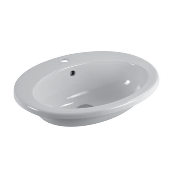Oval-Shaped White Ceramic Self-Rimming Bathroom Sink