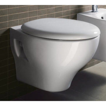 Round White Ceramic Wall Hung Toilet with Seat and Cover MCITY1811